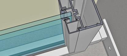 3D vizualizace řezu zábradlím AluClick