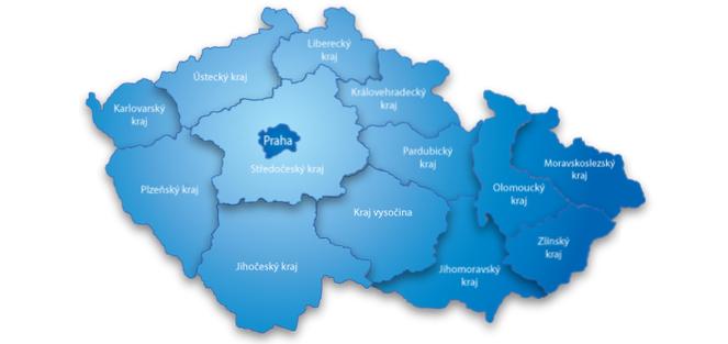 Partneři - mapka krajů