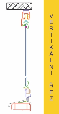 vertikální řez zasklívacím systémem IVETA