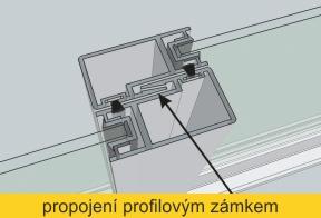 Detail zasklení TERMOplus - propojení profilovým zámkem s kartáčovým těsněním
