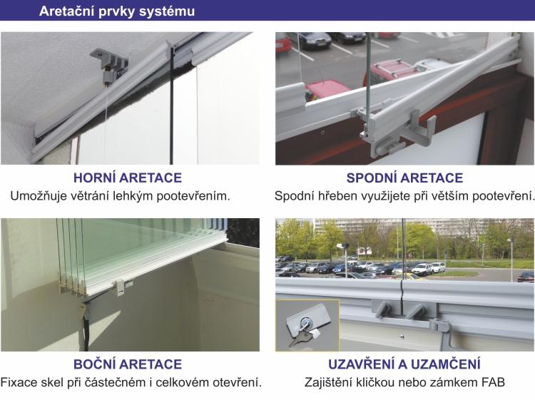 Zasklení lodžií IVETA - aretační prvky