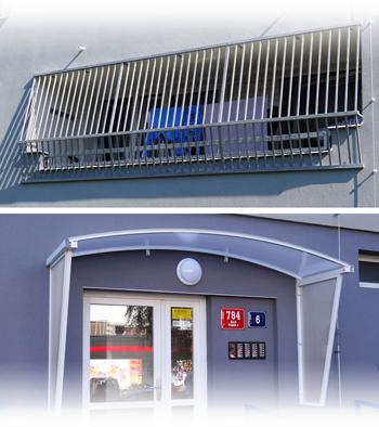 Doplňky pro lodžiová zábradlí - mříže pro spodní patra panelových domů a stříšky nad vchody