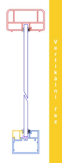 Vertikální řez zábradlím AluClick Standard